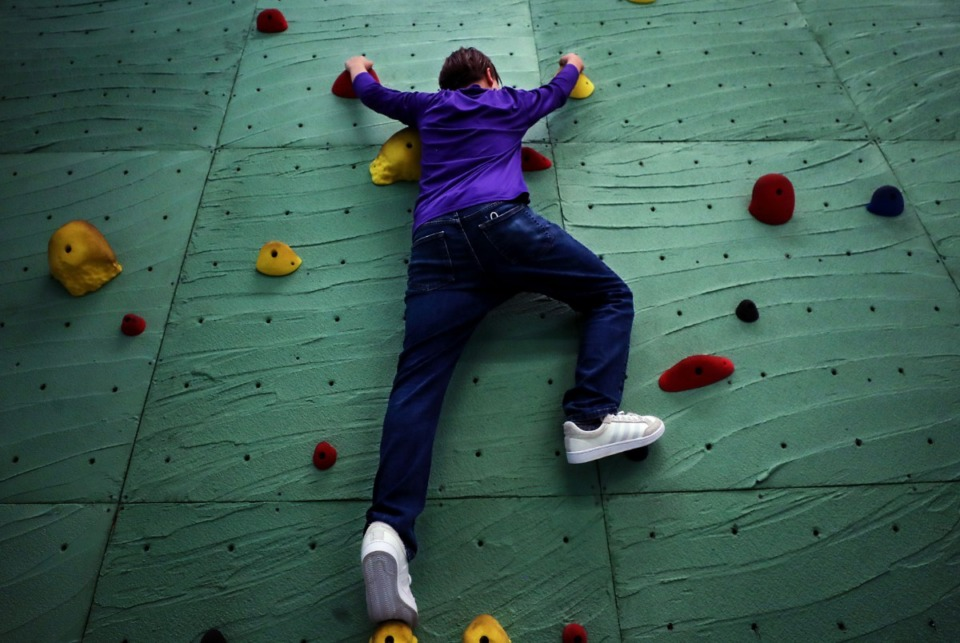 <strong>Youth Villages&rsquo; Bower Activity Center offers a place to practice rock-climbing technique on May 22, 2021.</strong> (Patrick Lantrip/Daily Memphian)