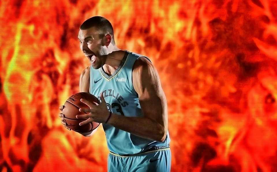 <strong>Grizzlies veteran center Marc Gasol turns up the intensity while shooting video spots during the annual Grizzlies media day at the FedExForum on Sept. 24, 2018. </strong>(Jim Weber/Daily Memphian)