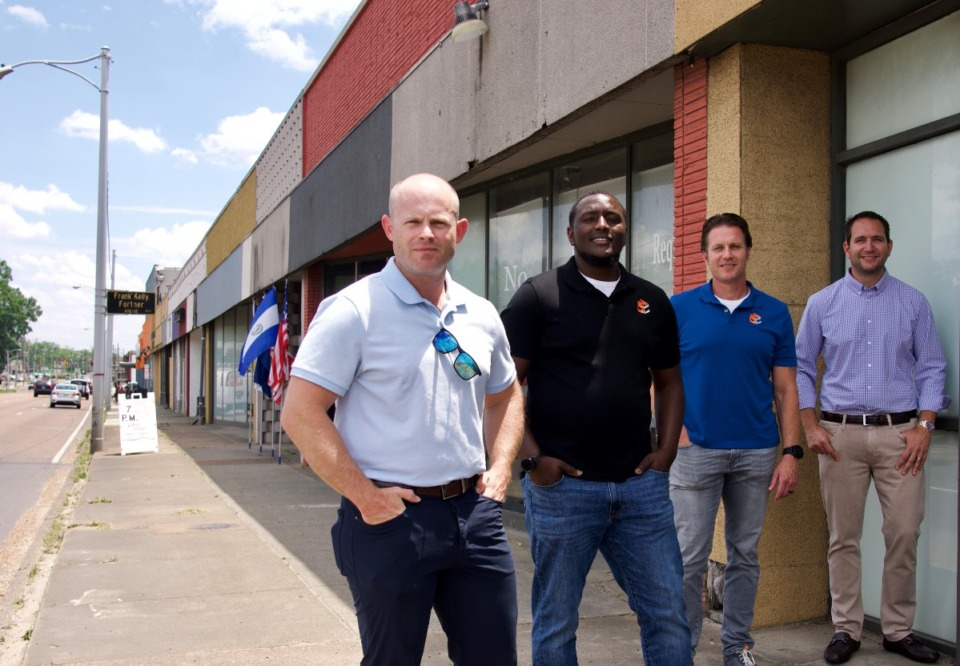 <strong>Owners Drew Joyner (from left), Octavius Nickson and Chris Hendrix with real estate broker Brian Califf. Starting soon will be t</strong><strong>heir $1.3 million renovation of The Heights shopping center (background).</strong>&nbsp;(Tom Bailey/Daily Memphian)