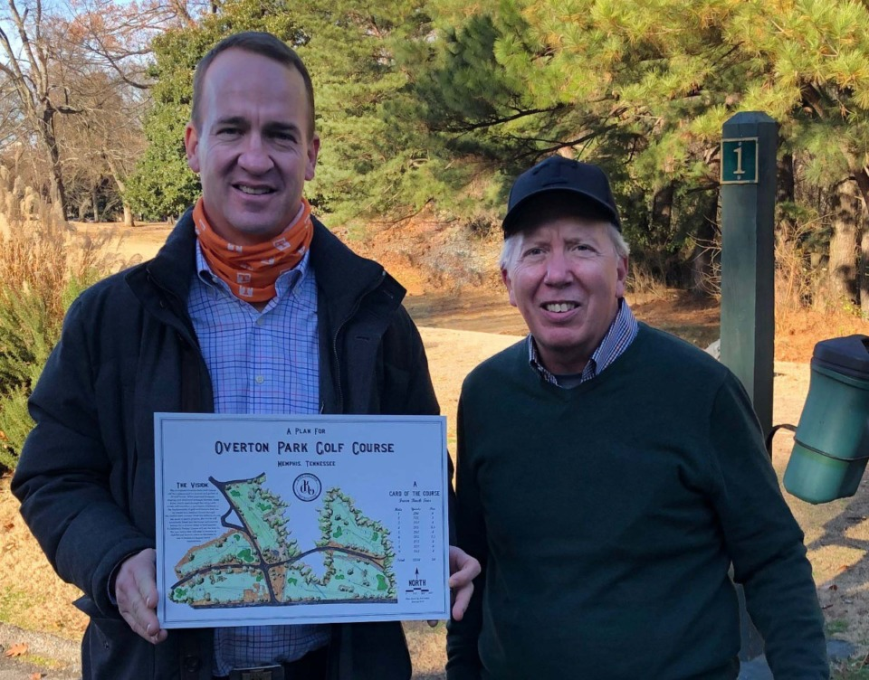 <strong>Peyton Manning joins (left) Parks Dixon on the first tee at Overton Park while holding the map of the redesigned course.</strong> (Courtesy Parks Dixon.)