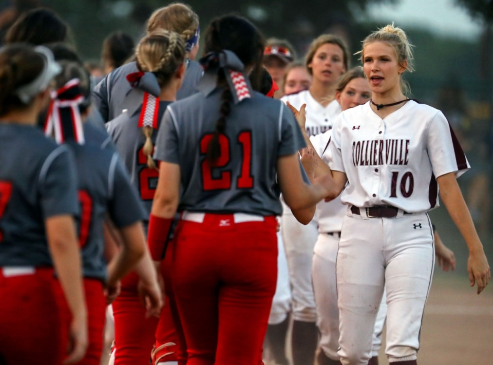 <strong>Collierville High School outfielder Cami Cordell (10) congratulates players from Coffee County High School after a state tournament game in Murfreesboro, Tennessee May 25, 2021. Collierville (28-6) will play Dickson County (29-12) in the Class AAA losers bracket at 10 a.m. May 26</strong>. (Patrick Lantrip/Daily Memphian)