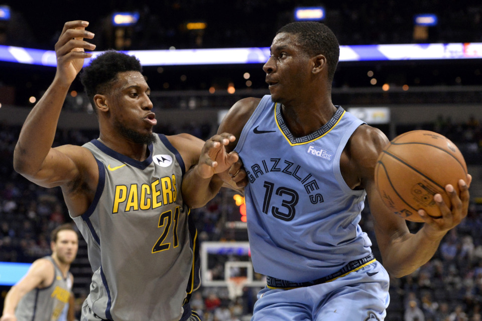 <strong>Memphis Grizzlies forward Jaren Jackson Jr. (13) controls the ball next to Indiana Pacers forward Thaddeus Young (21) Saturday, Jan. 26, 2019, in Memphis, Tenn.</strong> (AP Photo/Brandon Dill)