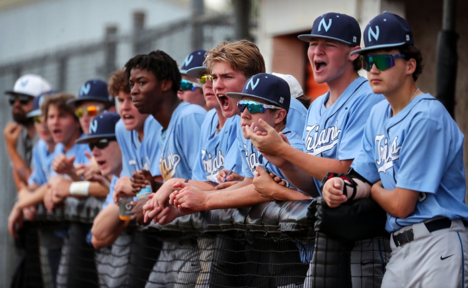<strong>Northpoint Christian School players celebrate from the dugout during a May 26, 2021 game against Tipton-Rosemark Academy in Murfreesboro, Tennessee.</strong> (Patrick Lantrip/Daily Memphian)