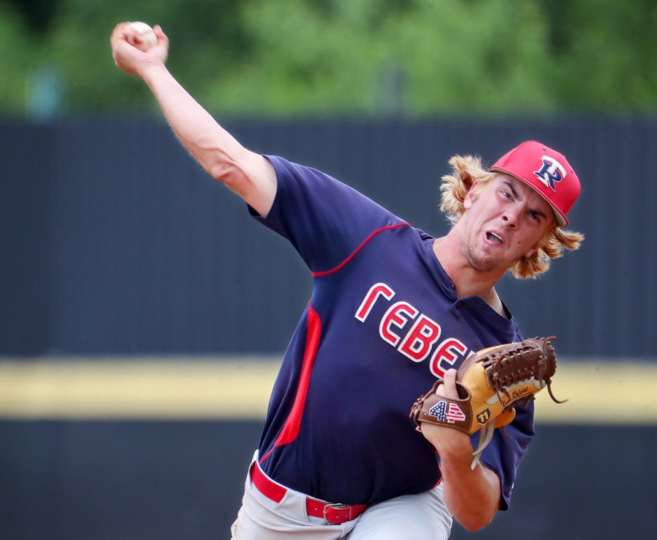 <strong>Tipton-Rosemark Academy pitcher Noah Roland (11) throws the ball during a May 26, 2021 playoff game against Northpoint Christian School in Murfreesboro, Tennessee.</strong> (Patrick Lantrip/Daily Memphian)