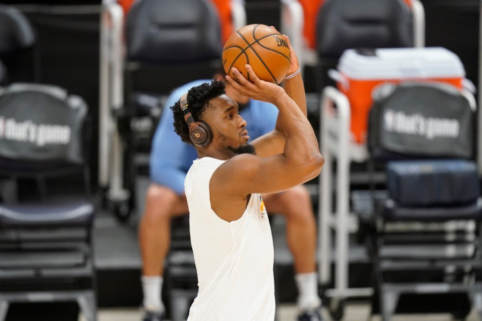 <strong>Utah Jazz guard Donovan Mitchell (45) is first on the court for Game 2 of their NBA basketball first-round playoff series against the Memphis Grizzlies Wednesday, May 26, 2021, in Salt Lake City.</strong> (Rick Bowmer/AP)
