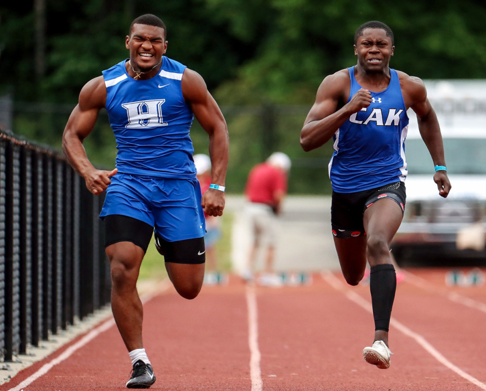 <strong>Harding Academy's Thornton Mitchell (left) competes in the men's 100-meter dash during the state championships in Murfreesboro, Tennessee May 26, 2021.</strong> (Patrick Lantrip/Daily Memphian)
