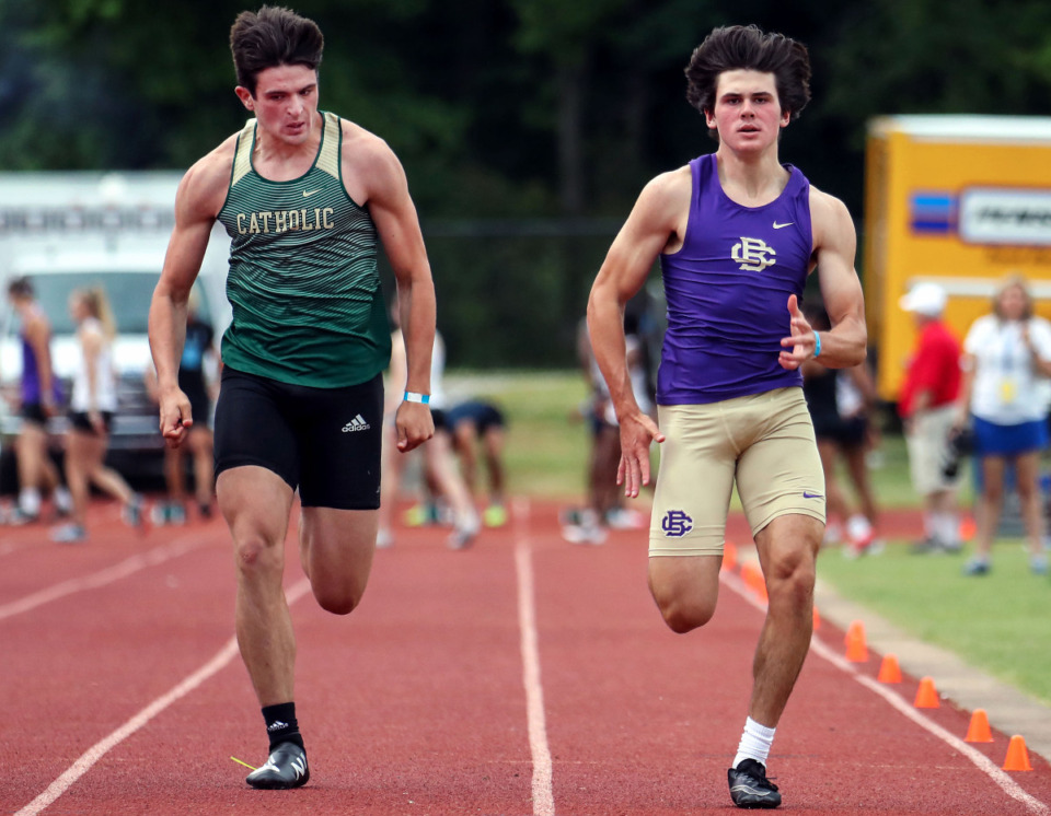 <strong>Christian Brothers High School's Whit Collard runs the 100-meter dash during the state championships in Murfreesboro, Tennessee May 26, 2021.</strong> (Patrick Lantrip/Daily Memphian)