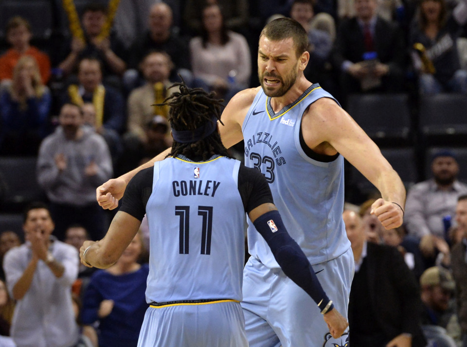 <span><strong>Memphis Grizzlies center Marc Gasol (33) and guard Mike Conley (11) react in the second half of an NBA basketball game against the Indiana Pacers Saturday, Jan. 26, 2019, in Memphis, Tenn.</strong> (AP Photo/Brandon Dill)</span>