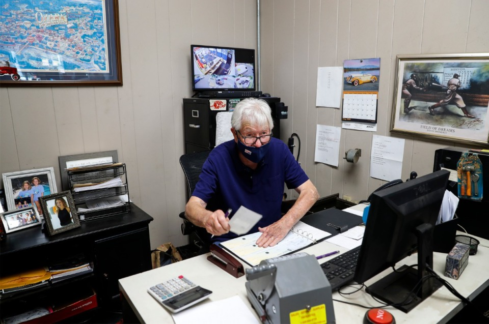 <strong>Jim Curtis works in his office at Jackson Tire &amp; Alignment, where he&rsquo;s been since 1971.</strong> (Mark Weber/The Daily Memphian)