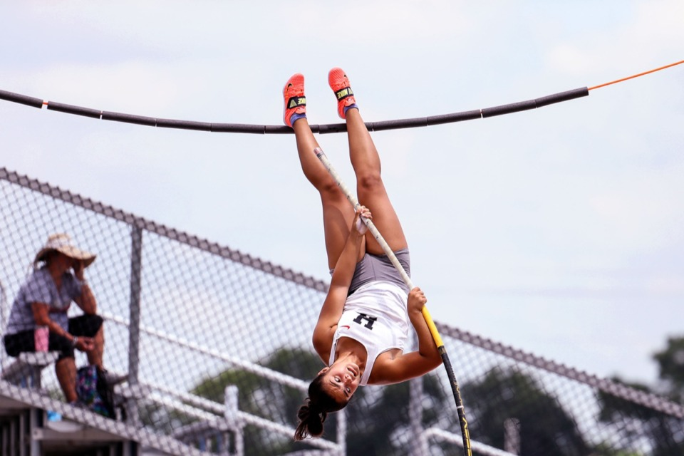 <strong>Houston High School's Sonia Jogal competes in the women's pole vault at the state championships in Murfreesboro, Tennessee, on May 27, 2021.</strong> (Patrick Lantrip/Daily Memphian)