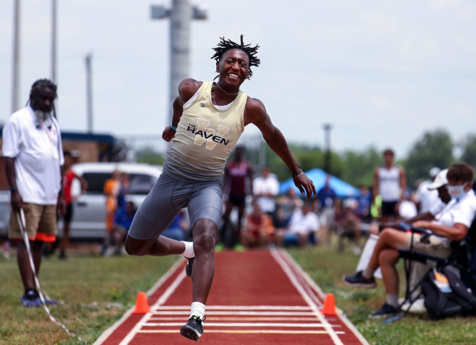 <strong>Whitehaven High School's Tayshun Thomas runs in the men's triple jump at the state championships in Murfreesboro, Tennessee, on May 27, 2021.</strong> (Patrick Lantrip/Daily Memphian)