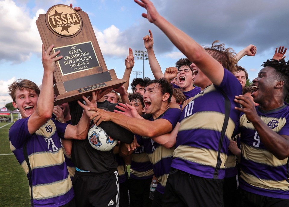 <strong>The CBHS men's soccer team celebrates a state championship over Father Ryan in Murfreesboro, Tennessee, May 27, 2021.</strong> (Patrick Lantrip/Daily Memphian)
