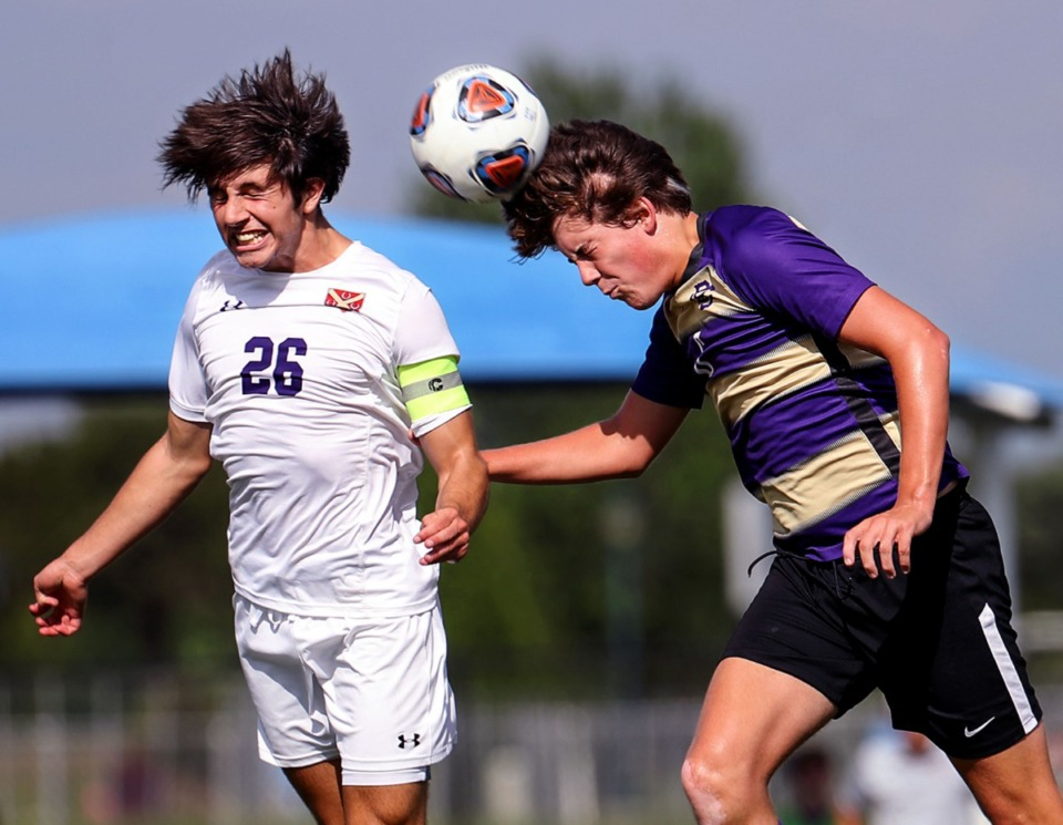 <strong>CBHS midfielder Jackson Saatkamp (6) goes up for a header during the state championship game against Father Ryan in Murfreesboro, Tennessee, May 27, 2021.</strong> (Patrick Lantrip/Daily Memphian)