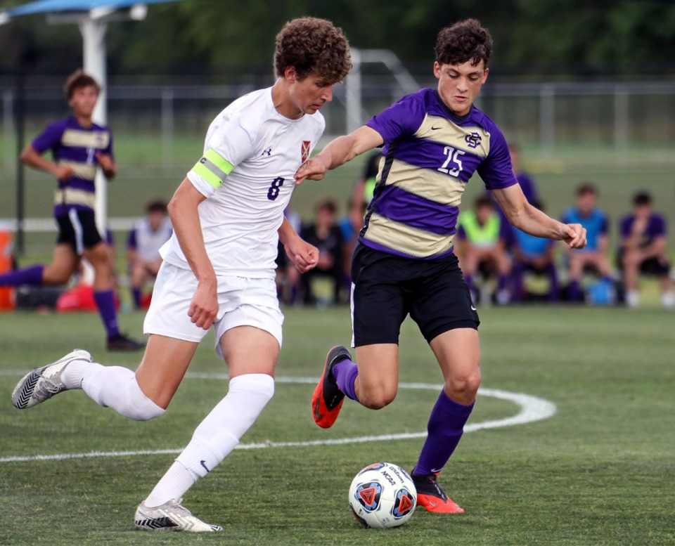 <strong>CBHS defender Hunter Lomasney (25) fights for the ball during the state championship game against Father Ryan in Murfreesboro, Tennessee, May 27, 2021.</strong> (Patrick Lantrip/Daily Memphian)
