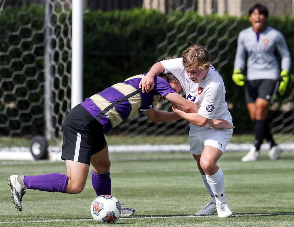 <strong>CBHS forward Taylor Gruber (7) gets held by a defender during the state championship game against Father Ryan in Murfreesboro, Tennessee, May 27, 2021.</strong> (Patrick Lantrip/Daily Memphian)