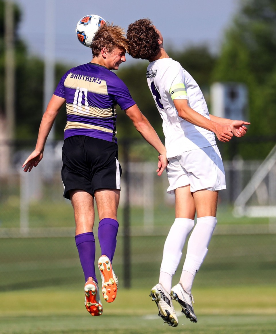 <strong>CBHS midfielder Matty Wackerfuss (10) goes up for a header during the state championship game against Father Ryan in Murfreesboro, Tennessee, May 27, 2021.</strong> (Patrick Lantrip/Daily Memphian)