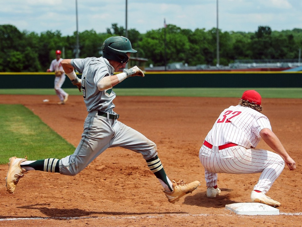 <strong>Briarcrest Christian School second baseman Mick Arney (9) races the throw to first during the state championship game in Murfreesboro, Tennessee, against Baylor High School on May 27, 2021.</strong> (Patrick Lantrip/Daily Memphian)
