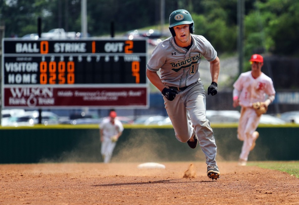 <strong>Briarcrest Christian School outfielder Luke Willard (14) makes a run for third during the state championship game in Murfreesboro, Tennessee against Baylor High School May 27, 2021.</strong> (Patrick Lantrip/Daily Memphian)