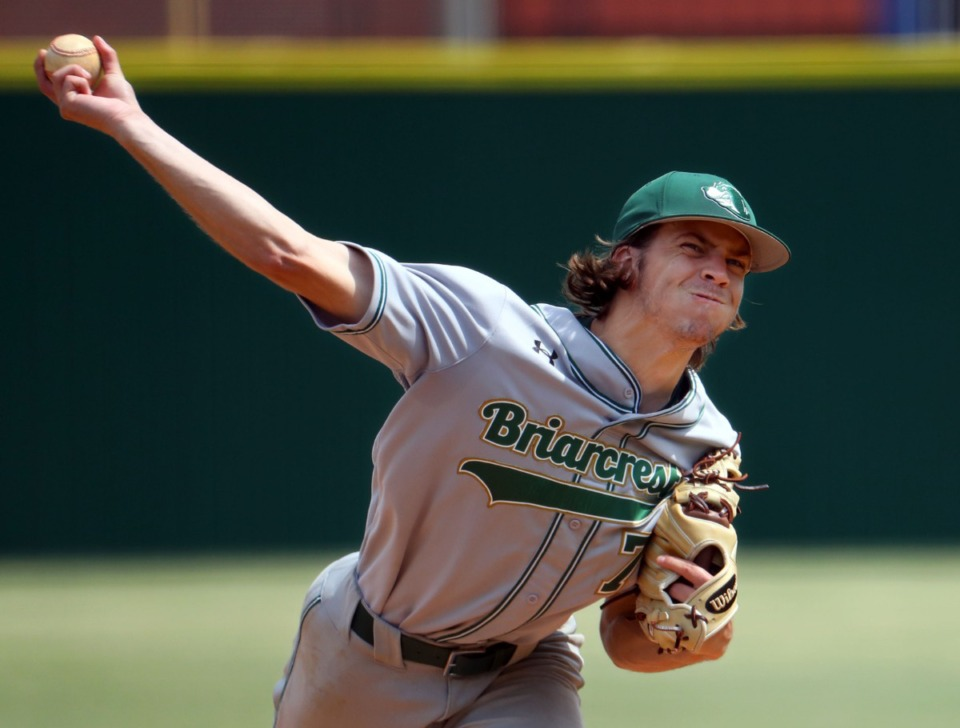 <strong>Briarcrest Christian School pitcher Peyton Moore (7) throws during the state championship game in Murfreesboro, Tennessee against Baylor High School May 27, 2021.</strong> (Patrick Lantrip/Daily Memphian)