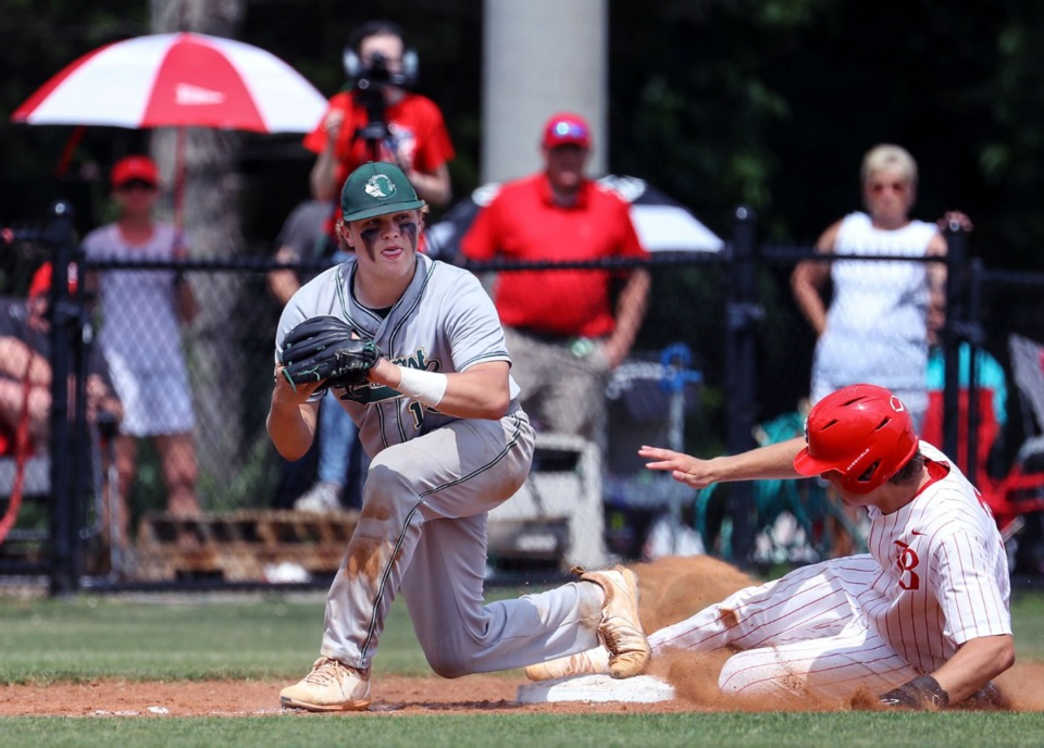 <strong>Briarcrest Christian School third baseman Tyler Harrington (13) tries to beat the runner during the state championship game in Murfreesboro, Tennessee against Baylor High School May 27, 2021.</strong> (Patrick Lantrip/Daily Memphian))