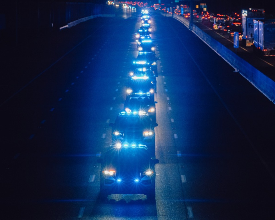 <strong>Hundreds of police officers across Shelby County drove a 40 mile route around Memphis in honor of Officer Christopher Scott &ldquo;Scotty&rdquo; Triplett. Triplett was killed last week after he was struck by a car while riding his motorcyle in a motorcade near Hickory Hill.</strong> (Houston Cofield/Special to The Daily Memphian)