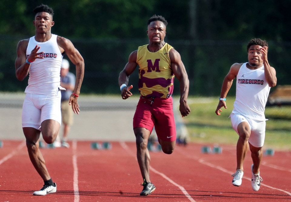 <strong>Melrose High School's Jermain Dodson competes in the men' 100 meter dash during the state championships in Murfreesboro, Tennessee May 25, 2021.</strong> (Patrick Lantrip/Daily Memphian)