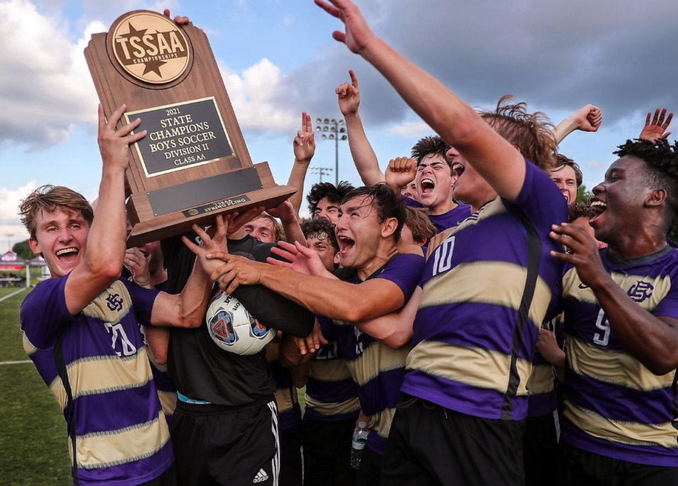 <strong>The Christian Brothers High School men's soccer team celebrates a state championship over Father Ryan in Murfreesboro, Tennessee May 27, 2021.</strong> (Patrick Lantrip/Daily Memphian)