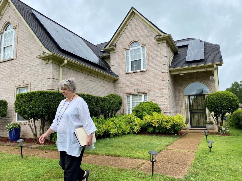 <strong>Realtor Jan Gordon of Crye-Leike Realtors says&nbsp;8674 Spice Wood Lane will be the first home with solar panels she has sold in her nearly 25-year career.</strong> (Tom Bailey/Daily Memphian)