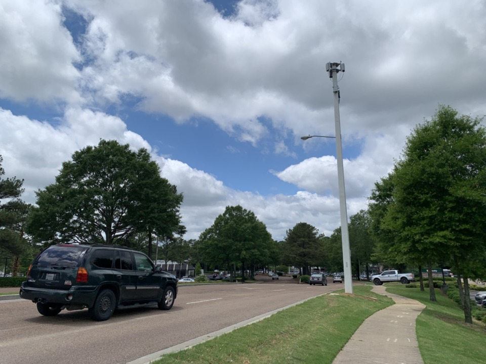 <strong>A 5G cell tower in Germantown is located on West Farmington Boulevard near Germantown Road.</strong> (Abigail Warren/Daily Memphian)