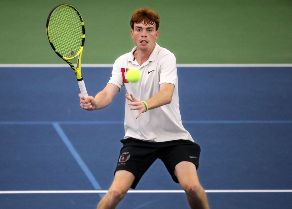 <strong>Memphis University School's Luke Donovan receives a serve during the state championships in Murfreesboro, Tennessee, on May 28, 2021.</strong> (Patrick Lantrip/Daily Memphian)