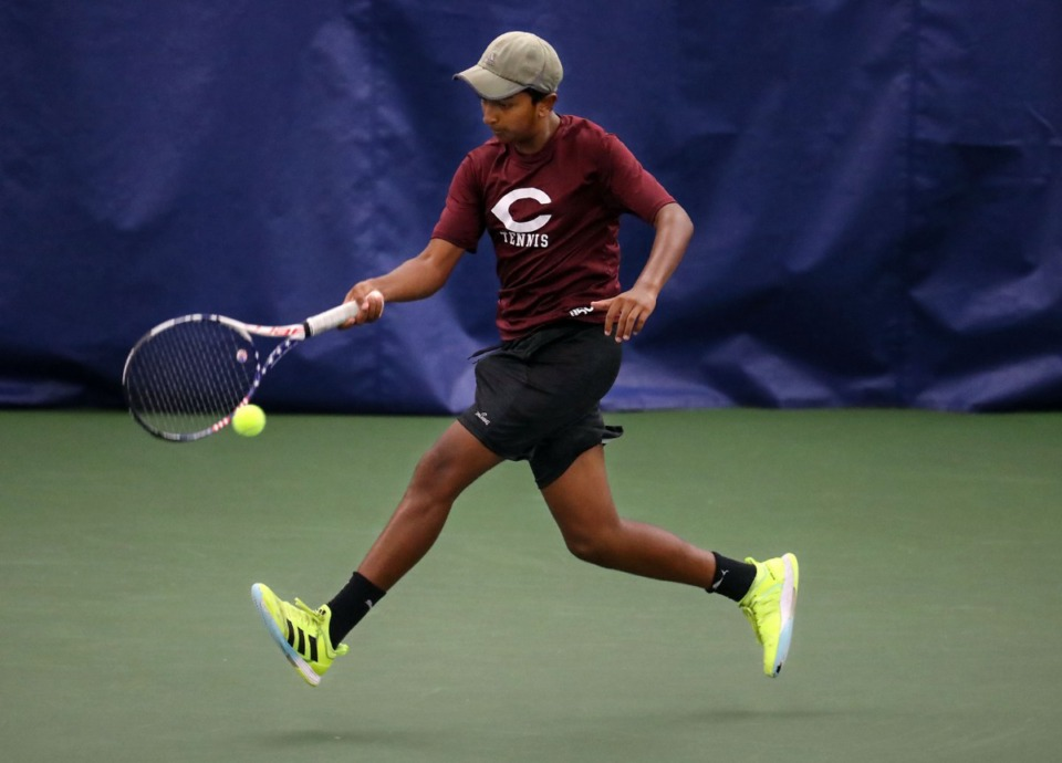<strong>Collierville's Ranjay Arul runs for the ball during the state championships in Murfreesboro, Tennessee, on May 28, 2021.</strong> (Patrick Lantrip/Daily Memphian)