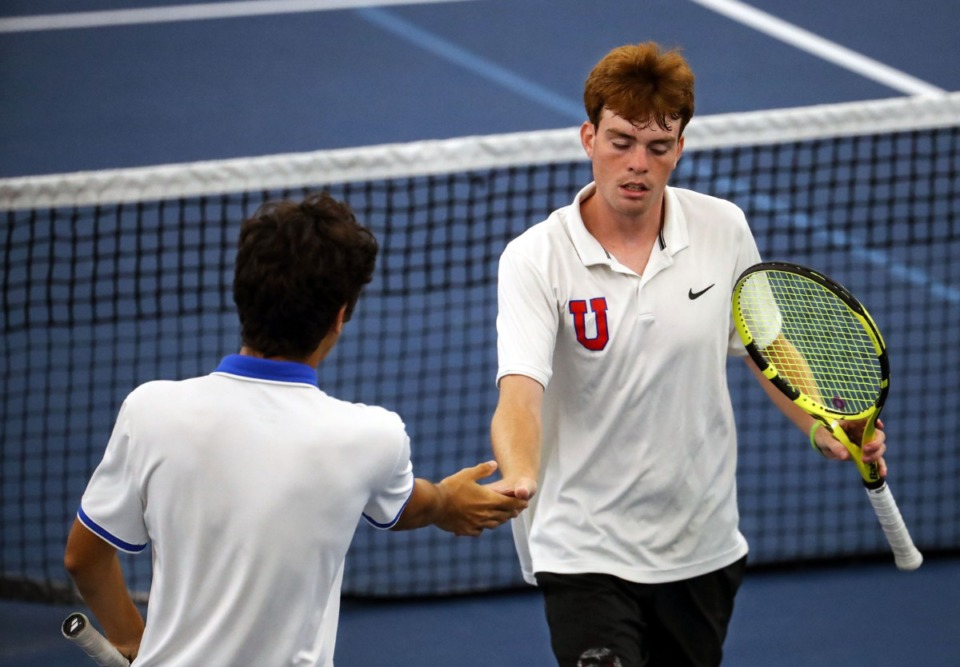 <strong>Memphis University School's Roberto Ferrer (left) commiserates with teammate Luke Donovan after a disappointing play during the state championships in Murfreesboro, Tennessee, on May 28, 2021.</strong> (Patrick Lantrip/Daily Memphian)