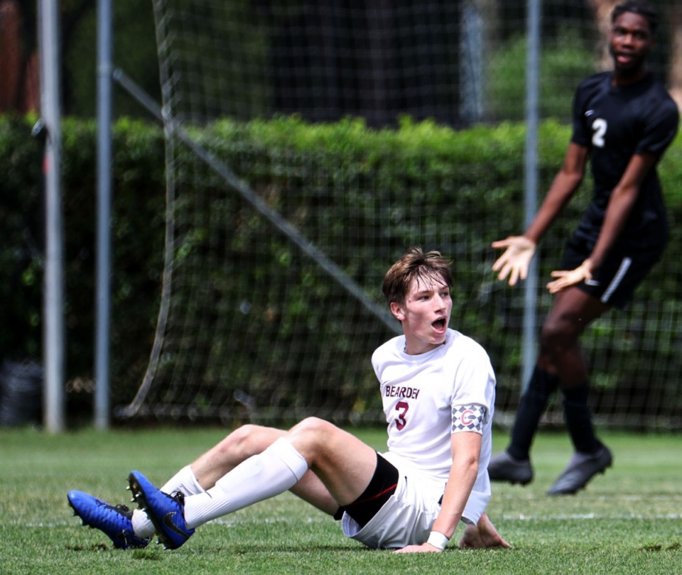 <strong>Bearden High School Defender Jackson Roberson (3) reacts to a call in the Class AAA championship game against Houston High School in Murfreesoro, Tennessee, on May 28, 2021.</strong> (Patrick Lantrip/Daily Memphian)