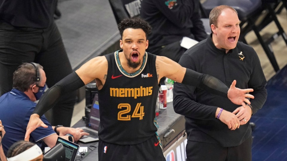 <strong>Dillon Brooks (24) and Grizzlies head coach Taylor Jenkins react to a call during the Game 1 of the NBA playoff series against the Utah Jazz May 23. Brooks has become a breakout star for Memphis.</strong> (Rick Bowmer/AP)
