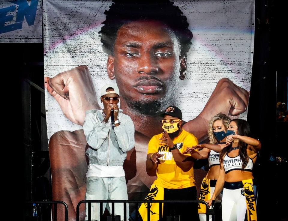 <strong>Memphis Rapper Young Dolph performs during halftime of the Memphis Grizzlies Utah Jazz NBA Playoffs game on Saturday, May 29, 2021.</strong> (Mark Weber/The Daily Memphian)