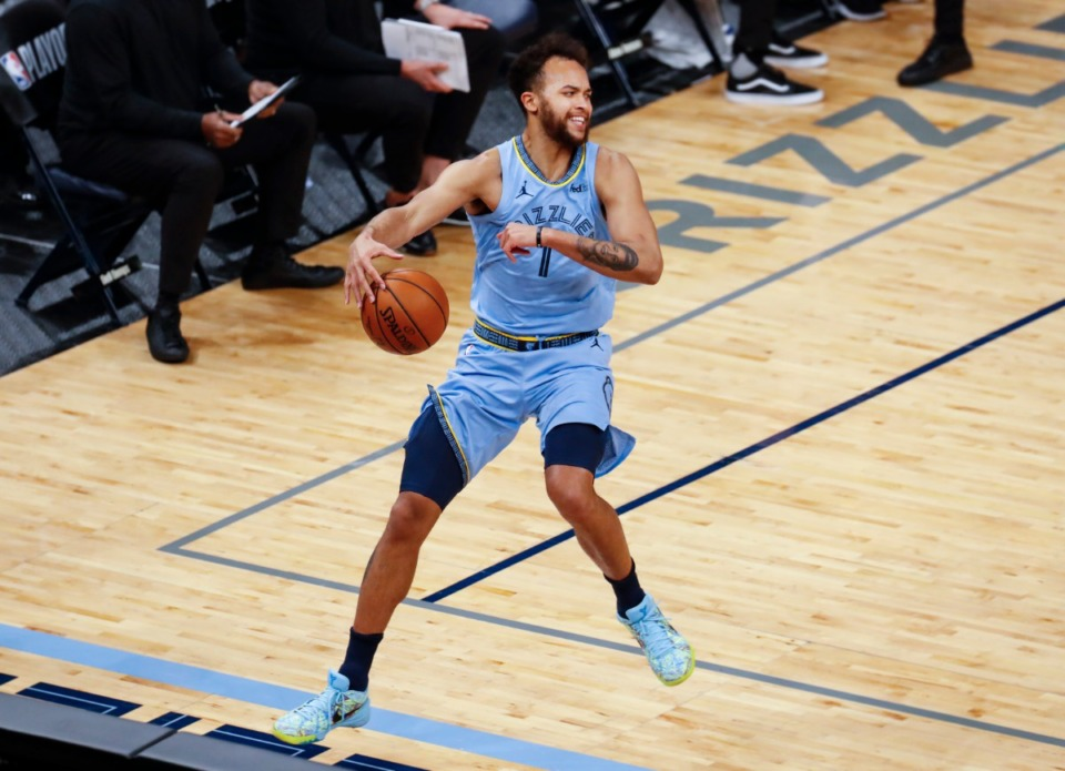<strong>Memphis Grizzlies forward Kyle Anderson tries to save the ball from going out of bounds during action against the Utah Jazz in three of the NBA Playoffs on Saturday, May 29, 2021.</strong> (Mark Weber/The Daily Memphian)