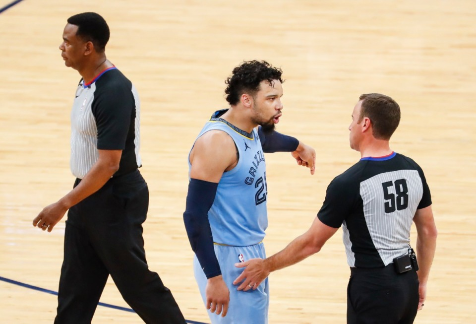 <strong>Memphis Grizzlies Dillion Brooks argues with an official after receiving a technical fouls during action against the Utah Jazz on Saturday, May 29, 2021.</strong> (Mark Weber/The Daily Memphian)
