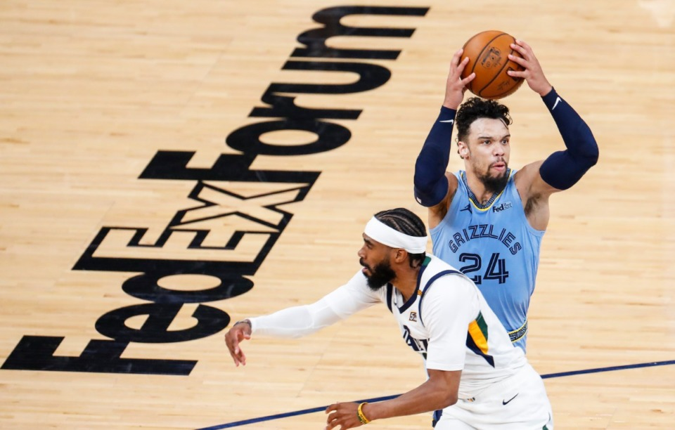 <strong>Memphis Grizzlies forward Dillion Brooks (right) drives past Utah Jazz defender Mike Conley (left) during game three of the NBA Playoffs on Saturday, May 29, 2021.</strong> (Mark Weber/The Daily Memphian)