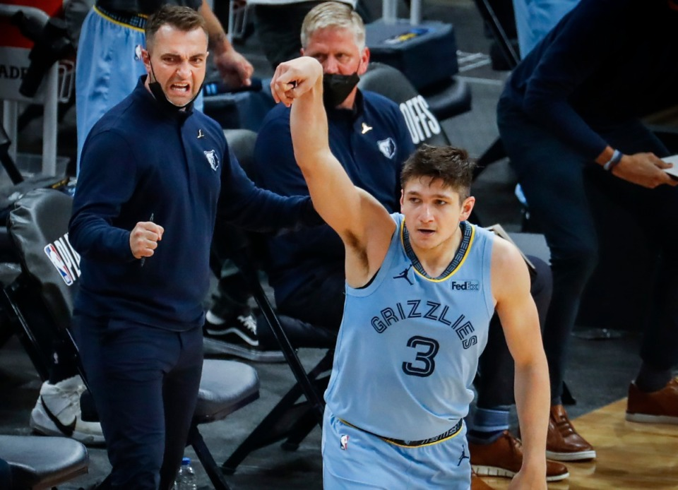<strong>Memphis Grizzlies assistant coach Darko Rajakovic (left) celebrates guard Grayson Allen (right) three-pointer against the Utah Jazz during in three of the NBA Playoffs on Saturday, May 29, 2021.</strong> (Mark Weber/The Daily Memphian)