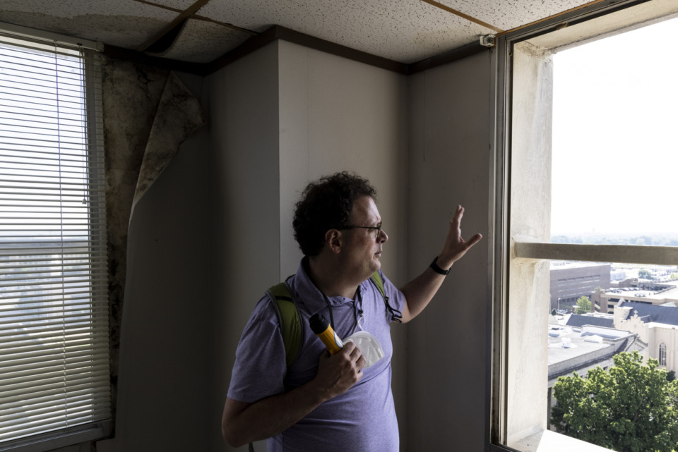 <strong>Brett Roler, vice president of planning &amp; development for the Downtown Memphis Commission, gives a guided tour of the vacant 100 North Main Building on Sunday, May 30.&nbsp;It was the fifth or sixth tour up the 38 floors that he&rsquo;s led since April.</strong> (Brad Vest/Special to the Daily Memphian