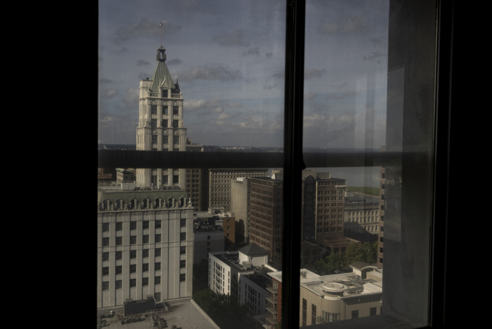 <strong>By floor 30, the tour-takers could look down on the nearby Raymond James Tower.</strong> (Brad Vest/Special to the Daily Memphian)