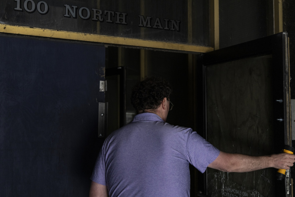 <strong>Brett Roler&rsquo;s sunny curiosity elevated the dimly lit tour of the vacant 100 North Main Building. &ldquo;Let&rsquo;s see what&rsquo;s in here,&rdquo; he said before opening the door to floor 30.</strong> (Brad Vest/Special to the Daily Memphian)