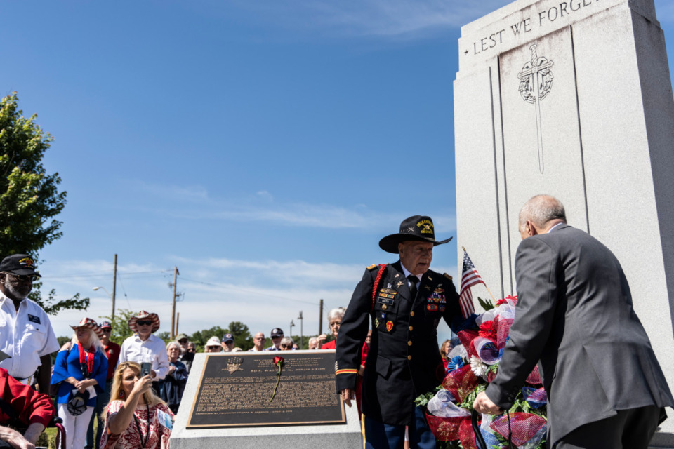 <strong>A wreath is laid at Veterans Park during Monday&rsquo;s Memorial Day Ceremony in Bartlett.</strong> (Brad Vest/Special to Daily Memphian)