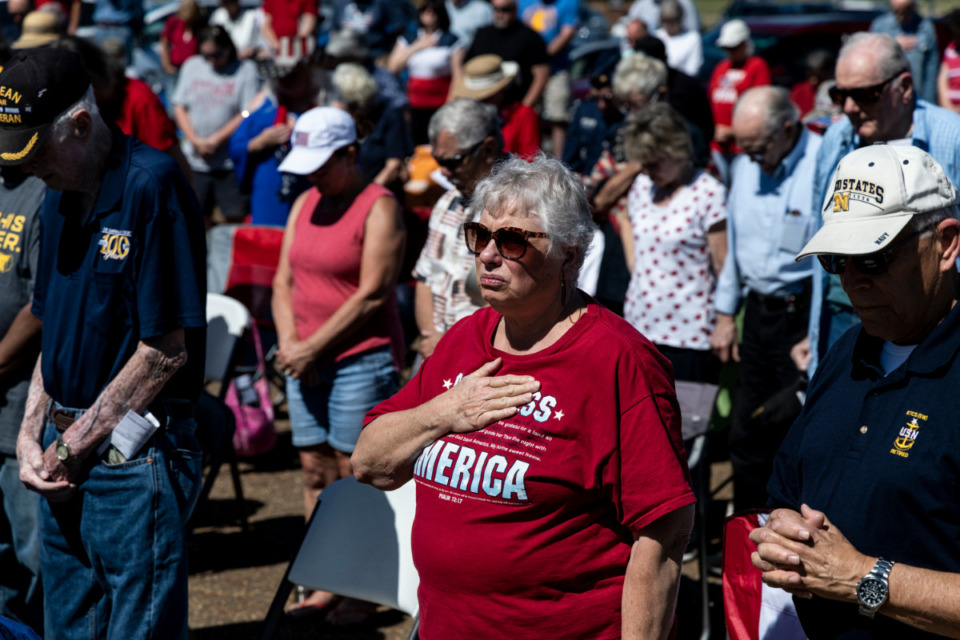 <strong>People gathered at Bartlett&rsquo;s Veterans Park during Monday&rsquo;s Memorial Day Ceremony.</strong> (Brad Vest/Special to Daily Memphian)