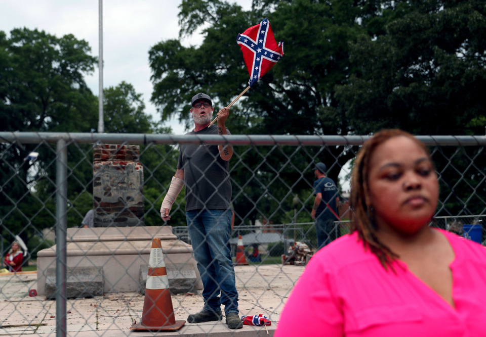 <strong>A man who identified himself as K-Rack Johnson yells at Shelby County Commissioner Tami Sawyer during a June 1, press conference in Health Sciences Park.</strong> (Patrick Lantrip/Daily Memphian)