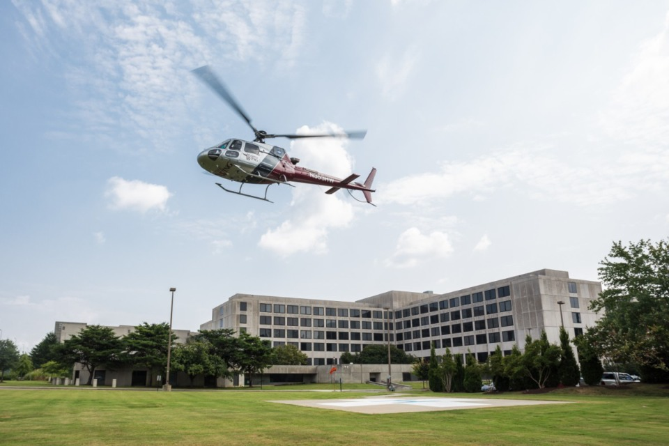 <strong>A helicopter lifts off from Baptist emergency room in 2018. Dr. Maury Bronstein held several leadership positions at Baptist, and developed the Mid-South&rsquo;s first coronary care unit.</strong> (Daily Memphian file)