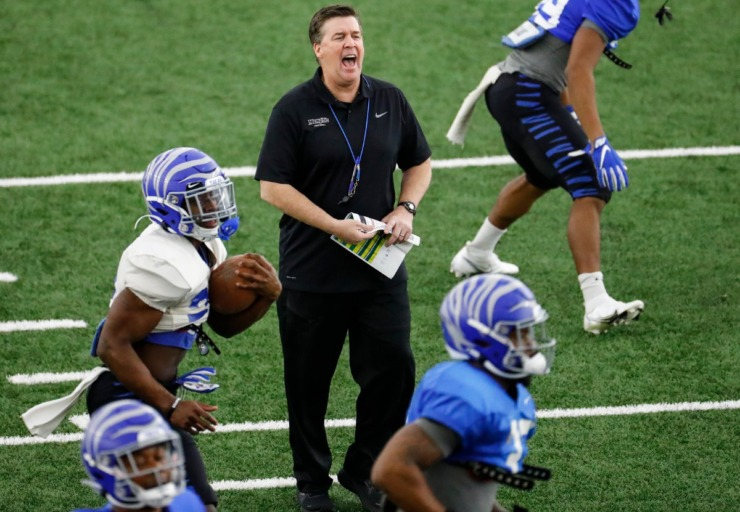 Memphis defensive coordinator Mike MacIntyre (middle) during practice on Tuesday, March 23, 2021. (Mark Weber/The Daily Memphian file)