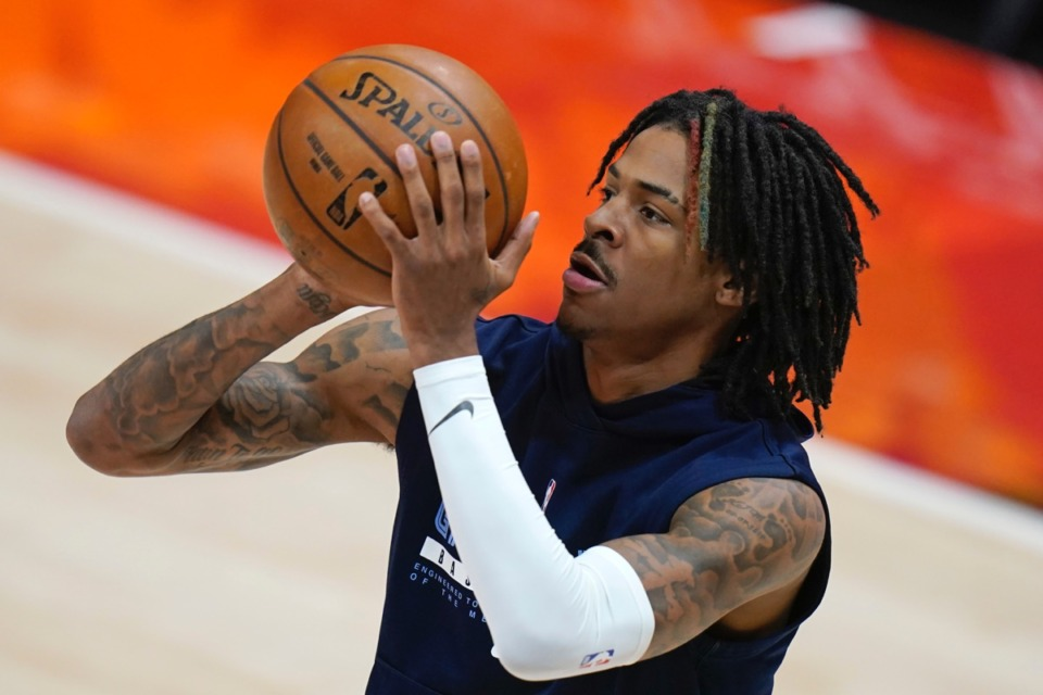 <strong>Grizzlies guard Ja Morant warms up before Game 5 of the first-round playoff series against the Utah Jazz on Wednesday, June 2, 2021, in Salt Lake City.</strong> (Rick Bowmer/AP)