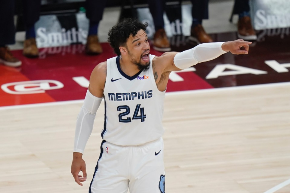 <strong>Grizzlies forward Dillon Brooks (24) gestures to teammates during Game 5 on June 2, 2021, in Salt Lake City.</strong> (AP Photo/Rick Bowmer)