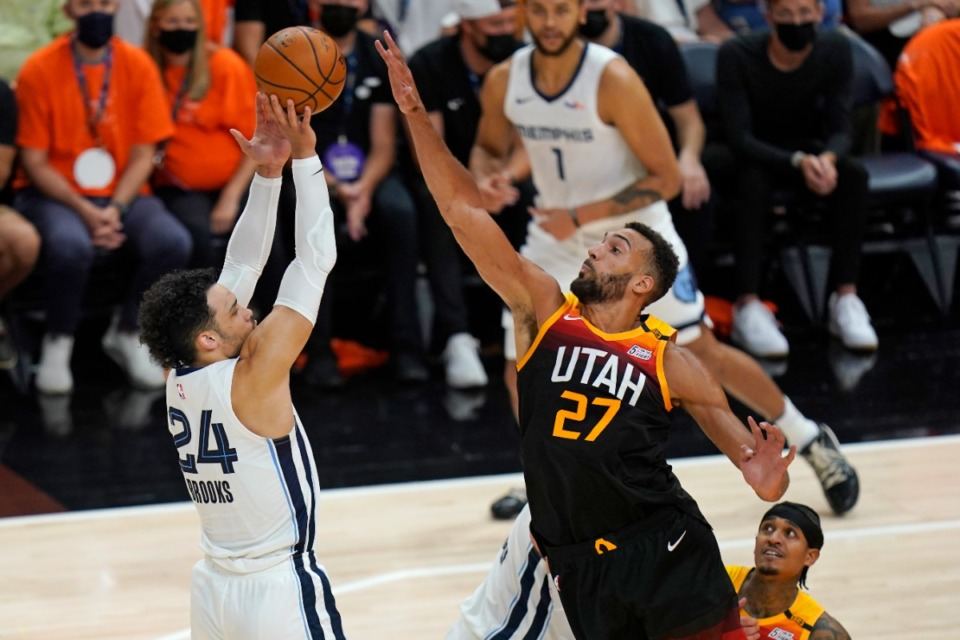 <strong>Utah Jazz center Rudy Gobert (27) blocks Grizzlies forward Dillon Brooks (24) during Game 5 of the first-round playoff series Wednesday, June 2, 2021, in Salt Lake City.</strong> (Rick Bowmer/AP)
